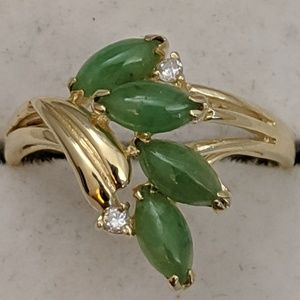 Jewelry - 14k Gold Jade & Diamond Ring.